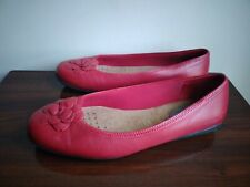 Fitzwell Women's Red Leather Upper Rubber Sole Slide Flats Shoes Sz 11WW