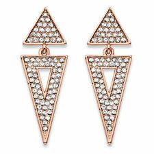 PalmBeach Jewelry Crystal Double Triangle Rose Gold-Plate Cluster Earrings 1.75""