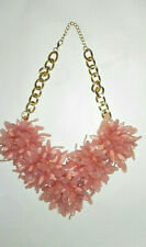 Vintage Chunky Pink Plastic Flowers Floral Statement Necklace w/ Gold Tone Chain