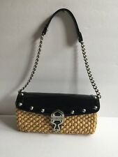 Michael Kors Patent Leather And Straw Bag With A Silver Chain