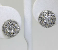 Diamond stud earrings white gold G color round brilliant cluster halo studs 1.8C