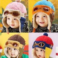Winter Cute Children Baby Boy Girl Glasses Design Beanie Cap Pilot Hat GIL