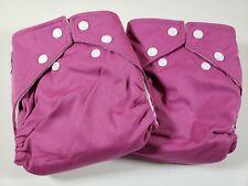 "2 Fuzzi Bunz Cloth Diapers ""Perfect Size"" w Inserts Small 7-18 lbs Magenta Nwt"