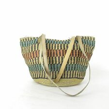 Vintage Southwestern Woven Straw Jute Beach Bag Market Tote Leather Handles