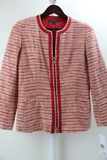 Lafayette 148 New York Acrylic Blend Multi-Color Zippered Jacket Size - 6