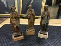 LOT OF THREE ANTIQUE WOODEN ITALIAN RELIGIOUS STATUES FIGURES FINELY DETAILED