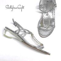 STUART WEITZMAN Silver Snake CRYSTAL STUDDED Sandals LUCITE CLEAR Heels 5.5 N