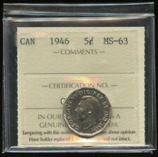 1946 Canada 5 Cents Nickel Coin - ICCS MS-63 Cert#CK952