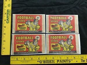 1960 NU CARD FOOTBALL CARD WRAPPERS LOT OF 4 WRAPPERS