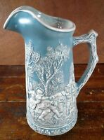 Milk Pitcher Blue White Pottery Ceramic Mold Dancing French Men Women