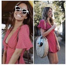 8a89105fda29 Zara Fuchsia Pink Polka Dot V-Neck Short Jumpsuit Playsuit - Size L - UK
