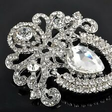 Large Flower Silver Bridal Brooch Rhinestone Crystal Diamante Wedding Broach Pin