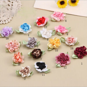 5-50 Mix satin ribbon flowers bows W/pearl wedding/sewing/appliques