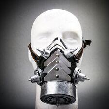 Men & Women Steampunk Burning Man Costume Half Face Gas Mask Respirator Silver