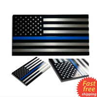 3D Thin Blue Line American Flag Decal Metal Police Officer Graphic Car Sticker