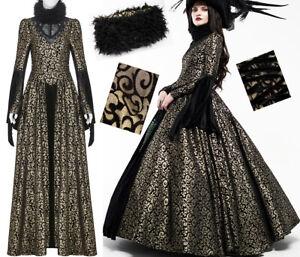 Robe bal gothique princesse baroque jacquard lamé fourrure laçage PunkRave Doré
