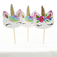 24pcs Unicorn Party Cake Toppers Paper Cake Topper Cupcake Birthday