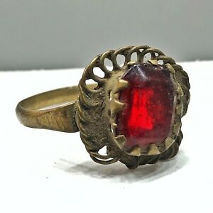 Authentic Antique Islamic Brass Ring W/ Red Stone - Medieval Ottoman Style