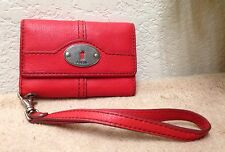 Fossil Maddox Red Leather Cell Phone Tri-Fold Wallet Wristlet VGC