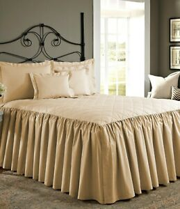 "1 Piece 800tc Egyptian Cotton Quilted Ruffle Bed Spread 30"" drop all size &color"