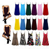 Women's Summer Strappy Sleeveless Plain Cami Swing Mini Dress Top Sizes 8-26