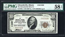 IL 1929 $10  ♚♚EDWARDSVILLE, ILLINOIS♚♚ PMG CH ABOUT UNC 58 EPQ