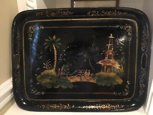 EARLY 19th Century English Tole Hand Painted Serving Tray CHINOISERIE