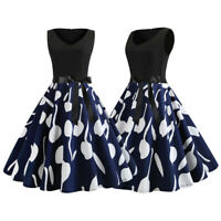Womens Vintage 50S 60S Swing Midi Dresses Party Cocktail Pinup Prom Ball Gowns