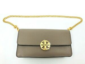 Tory Burch NEW Gray Chelsea Chain Pouch Pebbled Leather Mini Bag Clutch $228