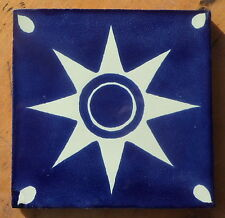 """10~MEXICAN TALAVERA POTTERY 4"""" tile Hand Painted clay kiln fired Blue White Star"""