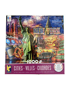 CEACO CITIES JIGSAW PUZZLE NEW YORK 1000 Pieces Made In USA Bonus Puzzle Poster