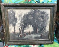 ANTIQUE FRAMED COROT A MORNING DANCE OF THE NYMPHS PRINT LITHO