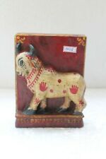 Old Hand Carved Wooden Hindu Holy Nandi Cow Engraved Wall Hanging Block NH5028