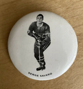 1970-71 Montreal Canadiens pinback button macaron Serge Savard