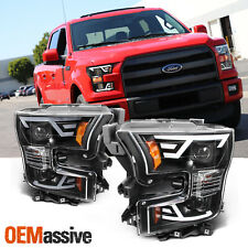 [Black] Fits 2015 2016 2017 Ford F150 Light Bar Projector Headlights Headlamps