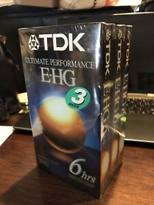TDK T-120EHGBH Blank VHS Tapes 3 Pack Sealed Ultimate Performance 6 Hours