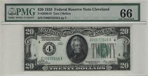 1928 $20 FEDERAL RESERVE NOTE CLEVELAND FR.2050-D PMG GEM UNC 66 EPQ (645A)