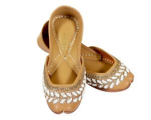 Handcrafted Hand MadeThe White Pearl with Leather Women Punjabi Jutti Mojari