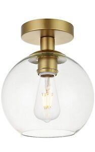 Elegant Lighting LD2204BR Baxter 1 Light Brass Flush Mount With Clear Glass