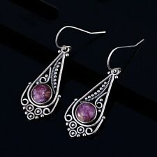 Vintage 925 Silver Natural Round Charoite Hollow Earring Drop Dangle Hook !!