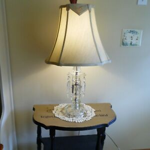 """Vintage Lg. Table Crystal glass Table Lamp with hanging Prisms25.5"""" tall w/shade"""