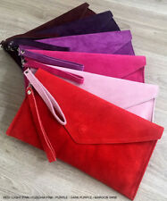 Red Wedding Clutch Bag Evening Bag Over Size Envelope Suede Prom Made in Italy
