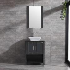 "Espresso 24"" Bathroom Vanity Wood Grain Cabinet White Ceramic Sink Faucet& Drain"