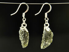 Earrings pair - 19cts #Ear306 Moldavite natural silver plated copper