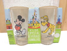 60's or 70's Set of 4 Walt Disney 8 1/2 Oz. Glass Crystal Beverage Tumblers~New!