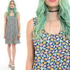 Vtg 90s Denim FLORAL Jumper Mini Dress Daisy Grunge Clueless Schoolgirl Pinafore