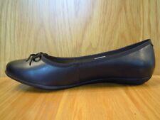 Clarks Ladies Shoes Size 8 Wide Fit Black Leather Flat Ballerina Pumps Bow Shoe