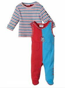 Julius Hupeden Baby Red & Blue Footies & Top Set 2 Piece Suit outfit 3-4 months