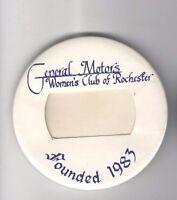 1983 pin GENERAL MOTORS badge WOMEN's Club of Rochester CAR Automobile pinback