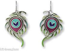 Zarah Zarlite Peacock Feather EARRINGS Sterling Silver Plated Dangle - Gift Box
